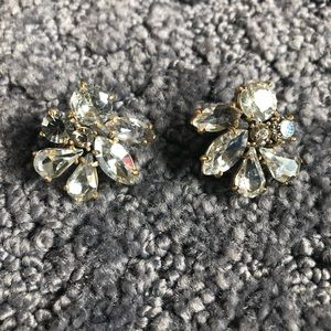 J. Crew clear and smoky crystal earrings.